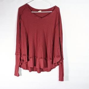 Altard State long sleeved thermal waffle top